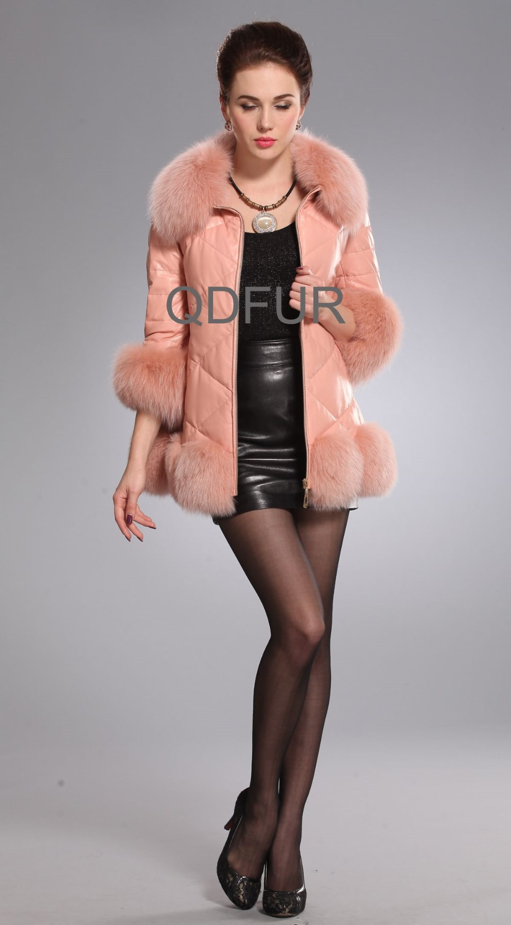 Зимой женщины шубы короткие пуховики пальто подлинной овчины кожаные куртки пальто с Фокс меха воротник b80106
