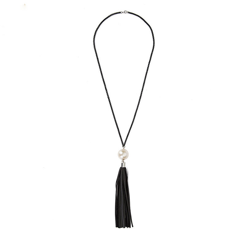 1 Pc Nice Charming Beads Leather Tassels Pendant Long Black Chain Sweater Necklace Collar For Women Fashion Jewelry(China (Mainland))