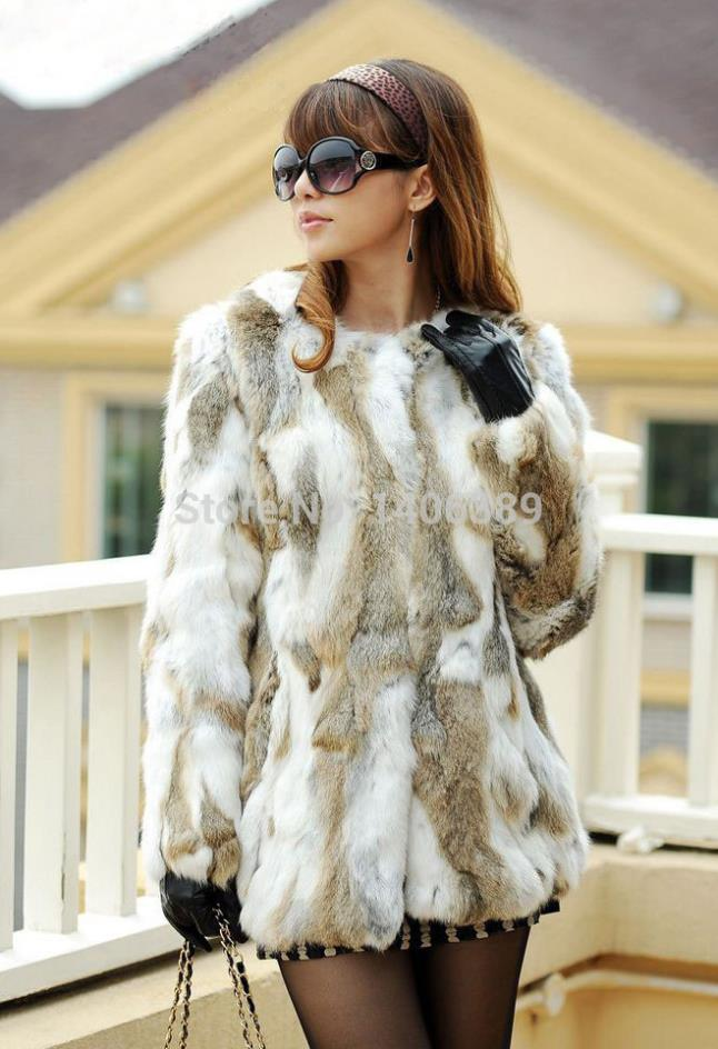 DL7001 Genuine Rabbiat Fur Coats Jackets Women Nature Real Rabbit Plus Size - Women's clothing online store