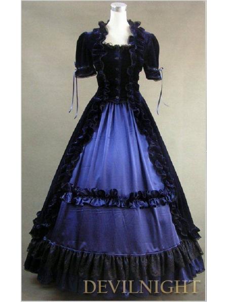 Black and Blue Short Sleeves Gothic Victorian DressÎäåæäà è àêñåññóàðû<br><br>