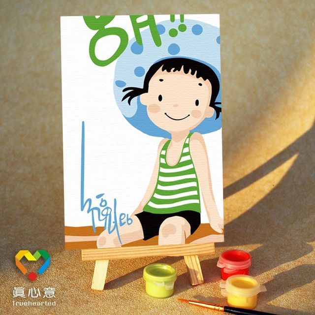 Diy digital oil painting mini cartoon painting summer - 10 15 belt easel