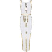 INDRESSME 2018 באיכות טובה סלבריטאים Kim Kardashian שמלה ללא שרוולים חרוזים תחבושת שמלה ארוך(China)