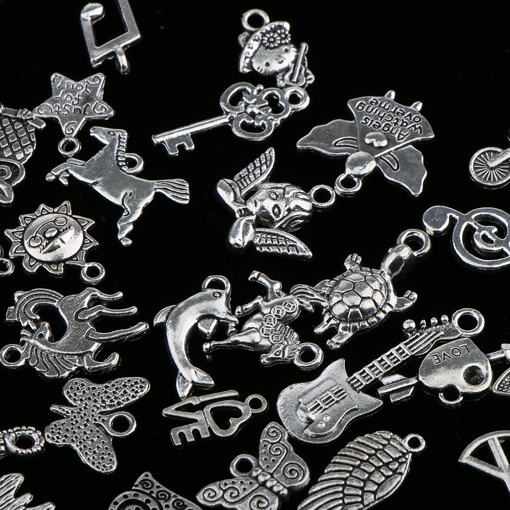 100 Pieces Bulk Wholesale Antique Silver Mixed Style Pendant Jewelry Findings DIY Craft Pendant Jewelry Making