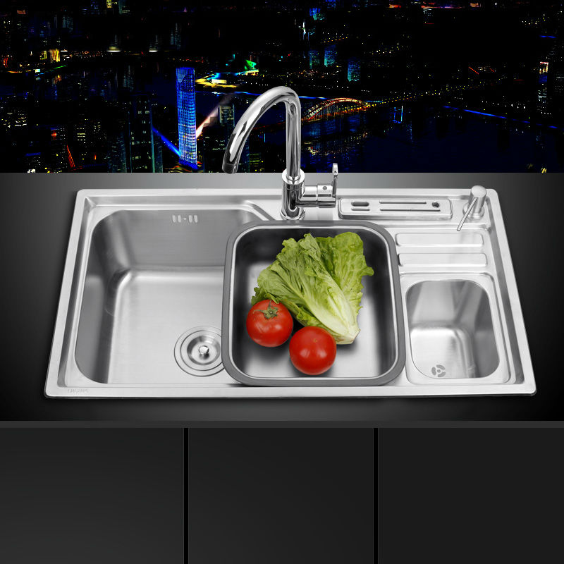 sink free shipping single groove single bowl vegetable washing basin pots 304 stainless steel kitchen sinks with soap dispenser. beautiful ideas. Home Design Ideas