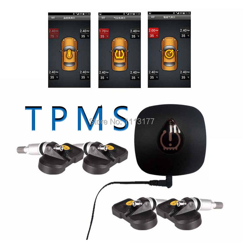 bluetooth tpms wireless car tire pressure and temperature monitoring system for android with 4. Black Bedroom Furniture Sets. Home Design Ideas