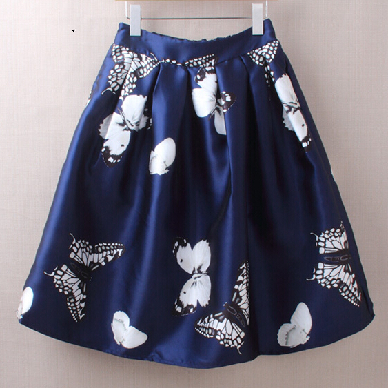 Butterfly Print Skirt Womens New Fashion Knee Length Semi Midi Pleated Femininos Saias Vintage Animal Printed Skirts - Ecostore store