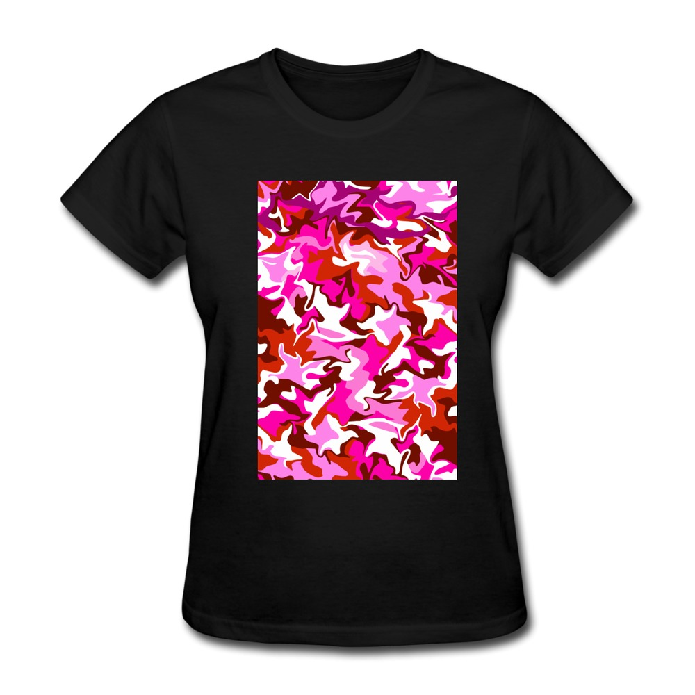 Organic Cotton Mixed Berry Camo Women t shirt for Sale Brand Girlfriend T Shirt(China (Mainland))