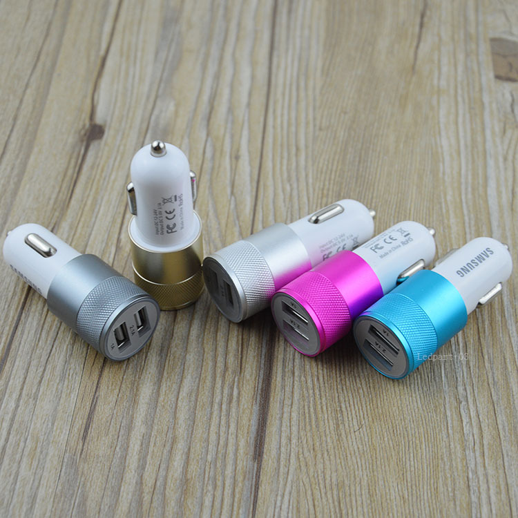 LED dual usb car charger Auto Charger Adapter for iPod iPhone 4/5/5C/5S/6 Samsung S6 Note 4 Note 3 S5 S4 S3 N7100HTC iPod iPad(China (Mainland))