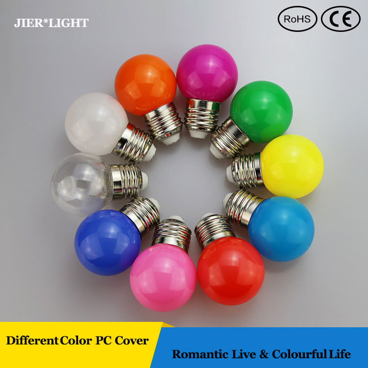 Free shipping 1W Colourful led bulb E27 Decorative Lamp Home Lighting SMD 2835 for Christmas/Party/Wedding(China (Mainland))