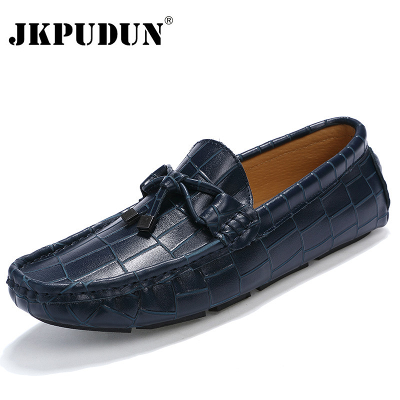 JKPUDUN Crocodile Leather Men Loafers Casual Moccasins Designer Italian Shoes Men Espadrilles Luxury Brand Breathable Boat Shoes(China (Mainland))
