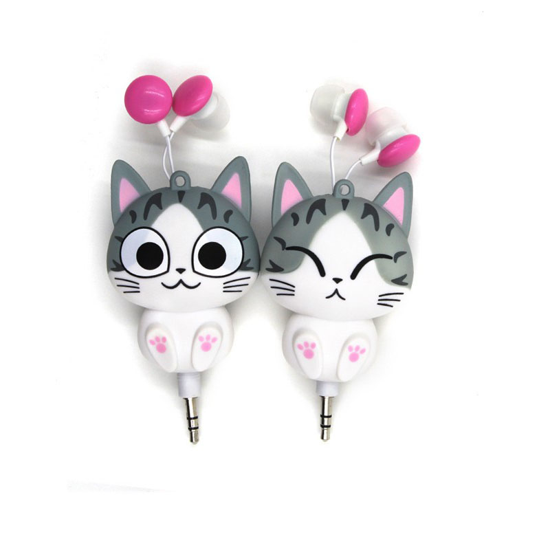 Cute Cheese Cat bear Cartoon Retractable Earphone for MP3 MP4 for Samsung HTC OPPO Xiaomi for IPhone 4 5 5s 6 6s 7 Automatic(China (Mainland))