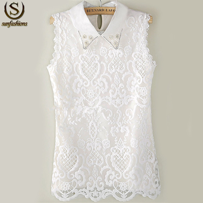 New 2015 Women Summer Famous Brand Sexy Blusa Renda Ladies Tops White Sleeveless Lapel Pearl Casual Lace Blouse(China (Mainland))