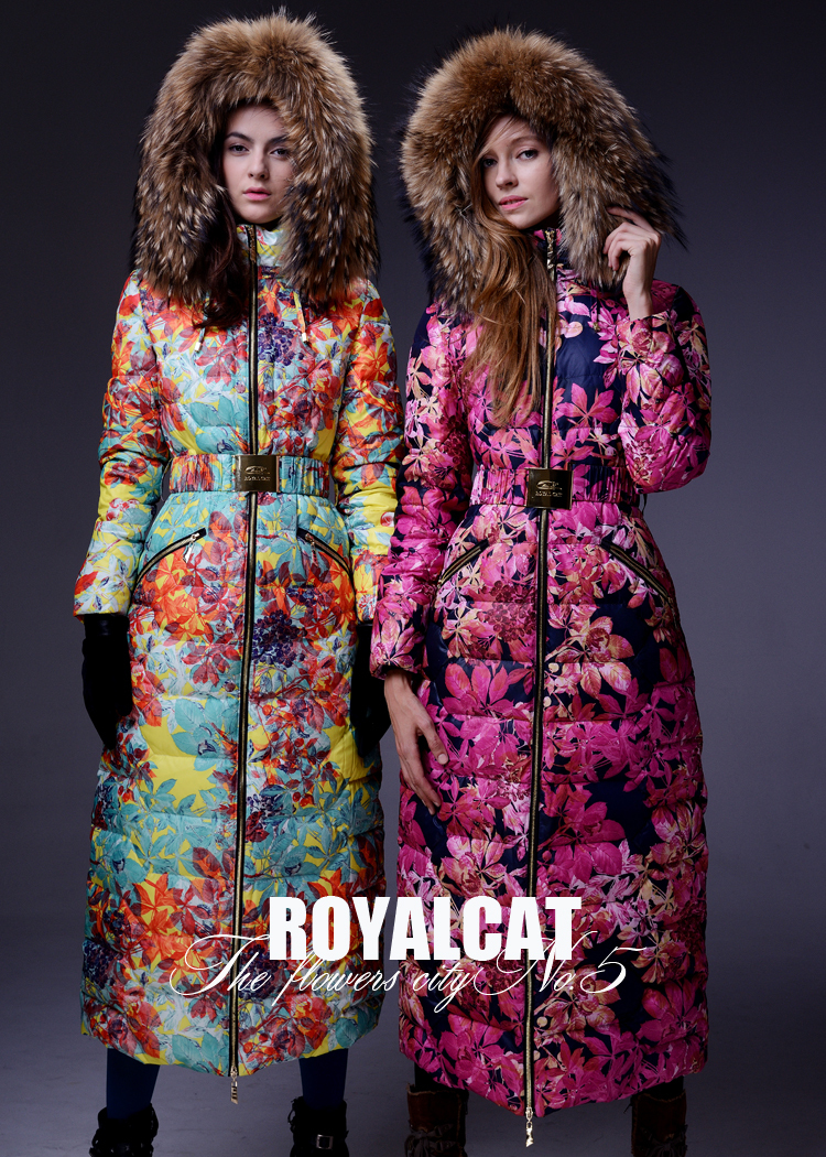 Royalcat Jackets 2016 Winter jacket Women Parka Flower Print Outwear Large Raccoon Fur thicken X-long coats - Xuzhou jingjing international trading company store