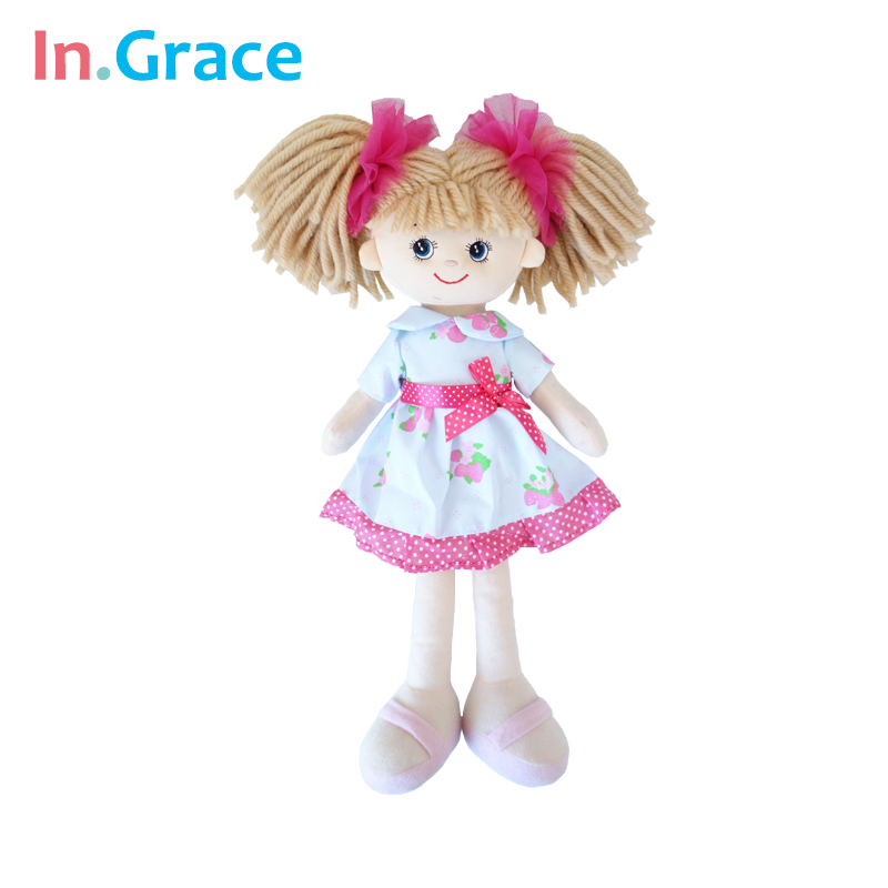 In.Grace brand cute lifelike girls dolls birthday gift fashion girls dolls 40CM handmade toys for kids girls with red headwear(China (Mainland))