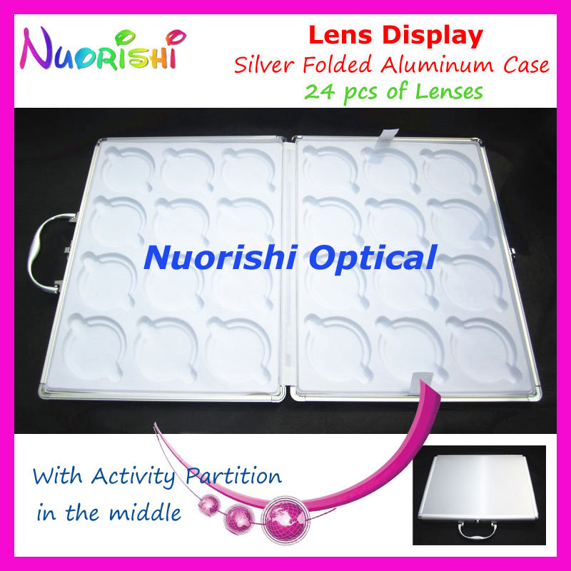 Portable Silver Aluminum 24pcs Optical Lens Lenses Sample Display Suitcase Case With Activity Partition D010-24 free shipping(China (Mainland))