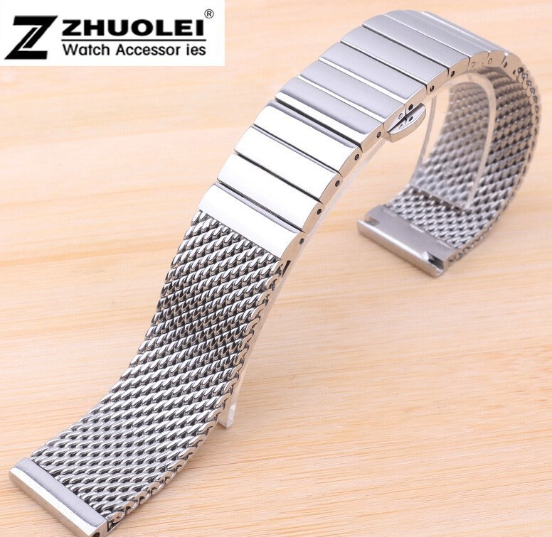 18mm 20mm 22mm 24mm Silver Top Quality Stainless Steel Watch Mesh Bracelet With Double Push Watchband Free Shipping<br><br>Aliexpress