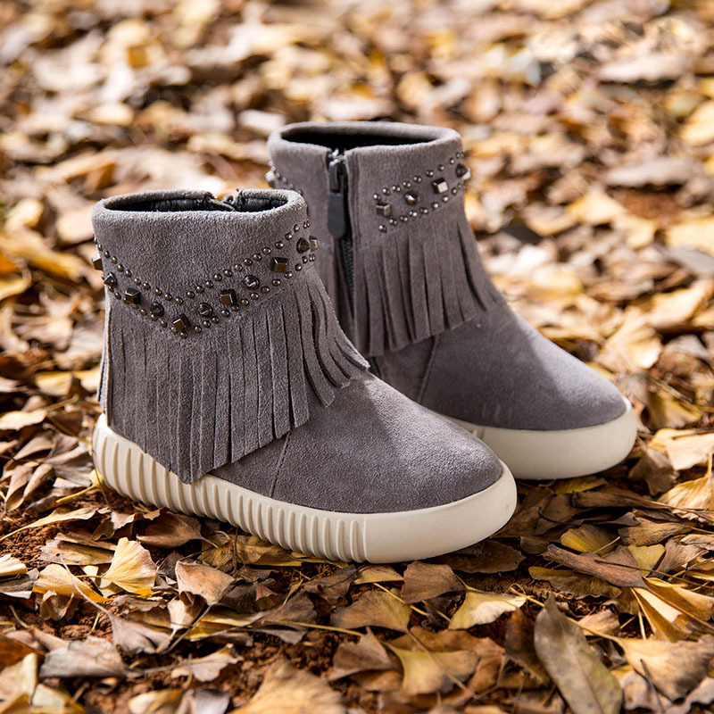 Genuine Leather Girls Fringe Boots Metal Decoration Toddler Winter Boots Thick Warm Princess Kids Boots TX155(China (Mainland))