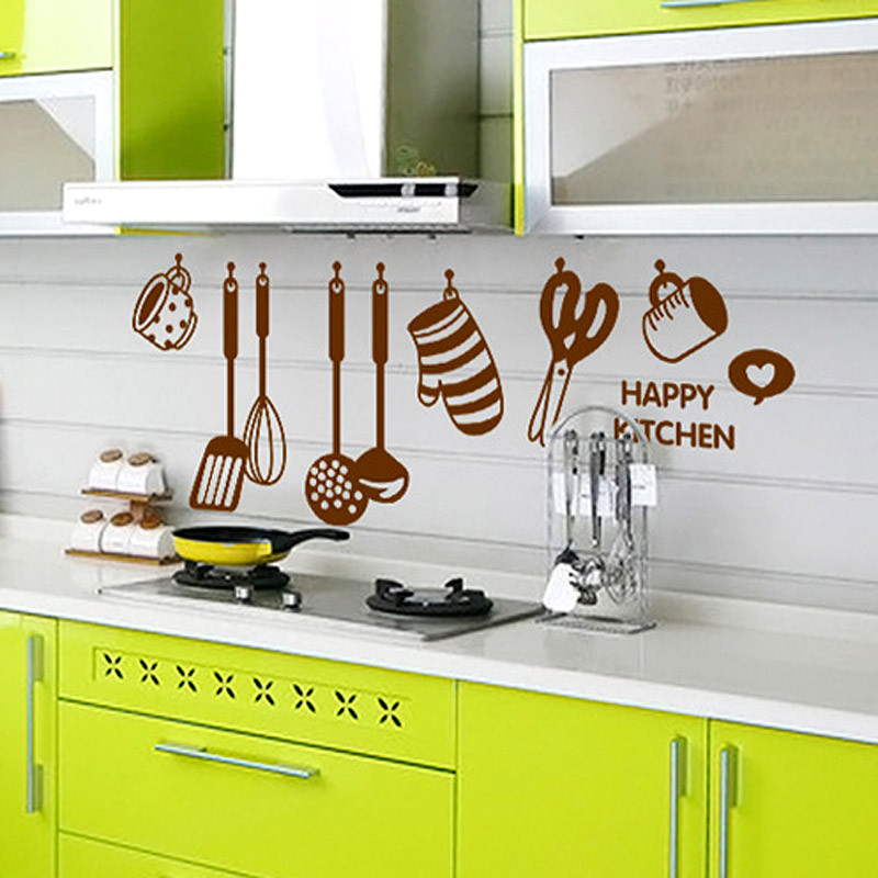 Newest 2015 Home Decor DIY Removable Happy Kitchen Wall Decal Vinyl Home Decorations Wall Stickers(China (Mainland))