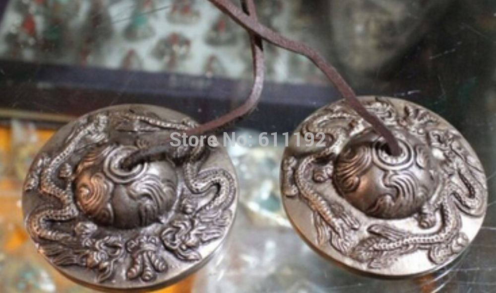 Rare Chinese gongs Hand-carved dragon pattern Tibetan copper feng shui touch bell(China (Mainland))