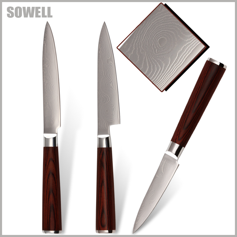 """SOWELL damascus knives 5 inch big utility 5"""" utility 3.5"""" paring knife a set of kitchen knives 9Cr18Mov pattern stainless steel.(China (Mainland))"""