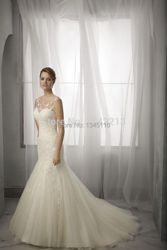 Best selling cap sleeves sheer neckline mermaid bride for Best selling wedding dresses