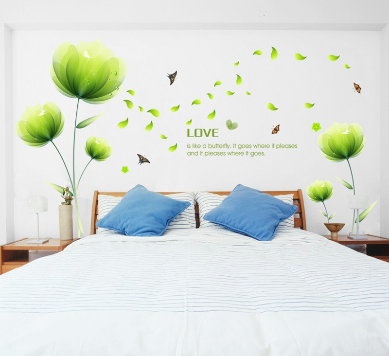 High Quality 3D Green Plants Butterfly Wall stickers Romatic TV Background Removable Vinyl Stickers Home Decoration Wall Decals(China (Mainland))