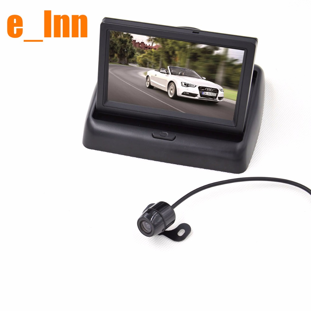 Car Auto Rear View Rearview Parking Foldable Mirror Monitor 2-Way with Mini Backup Camera(China (Mainland))
