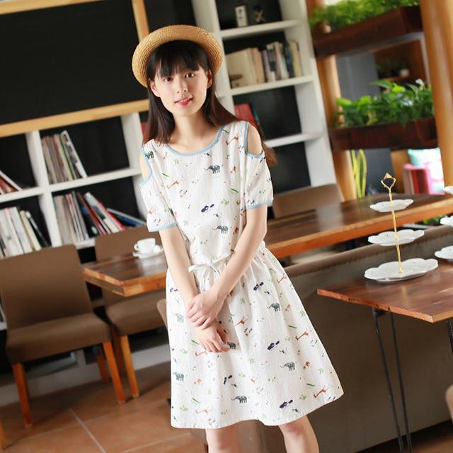 Lovely Summer Women Dress Short-sleeved Strapless 100% Mori Girl Bamboo Dress Cotton perfumes and fragrances of brand originals(China (Mainland))