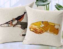 Cartoon fish cat throw pillows