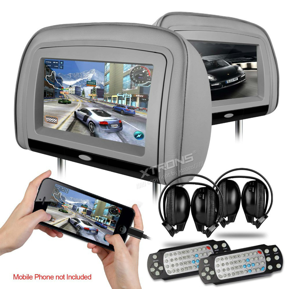 "XTRONS Grey 2x9"" Digital Screen Car Monitor Headrest DVD Player with 2 IR Headphones 8 Bits & 32 Bits Games(China (Mainland))"