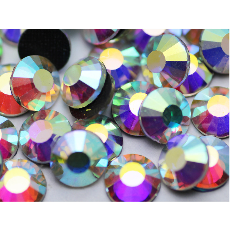 45pcs sample of quality ss30 crystal ab hot fix 65mm rhinestone flatback glue strass trims for clothing boots bags - Free Sample Shoes