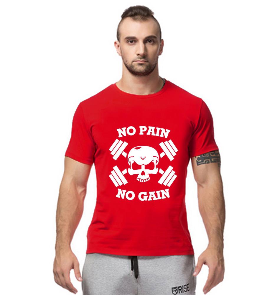Fashion trade code bodybuilding gym training muscle skull t-shirt cotton short sleeved clothing(China (Mainland))