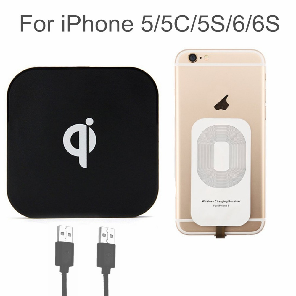 Qi Wireless Charging Kit with Qi Charger and Receiver for Apple iPhone 6 6S 5 5S Charging Adapter Coil Pad with Dual USB Port(China (Mainland))