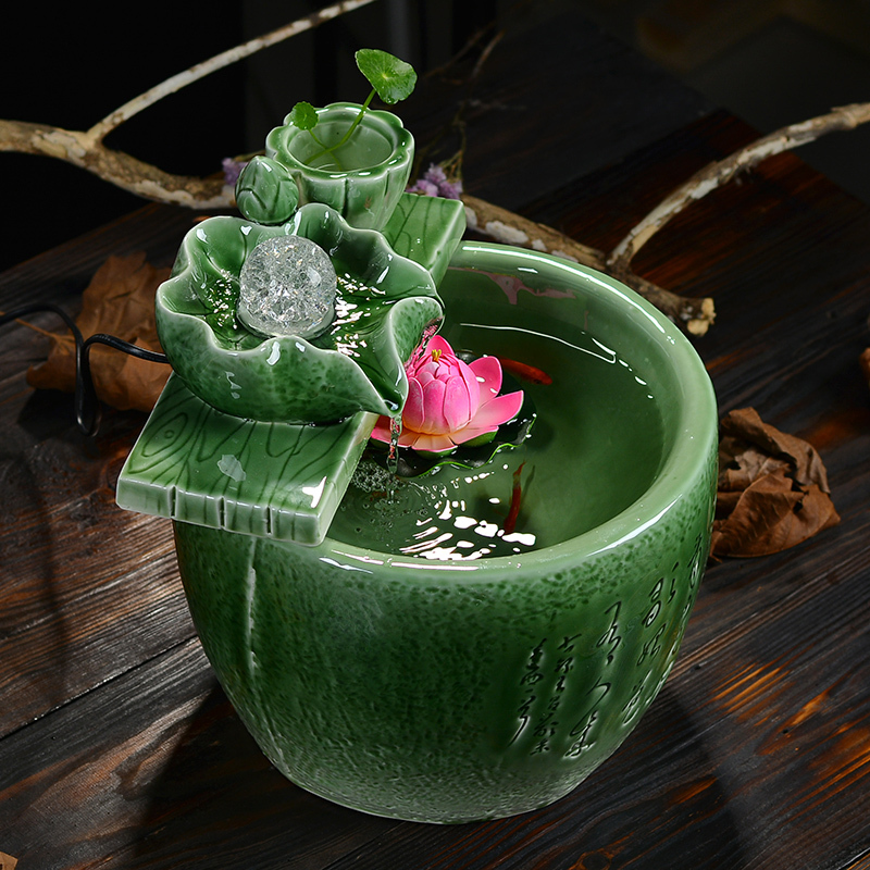 celadon water fountain lucky feng shui home decor gifts round living room humidifier office