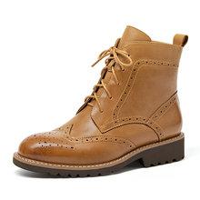 BeauToday Nữ Giày Brogue Giày Ankle Boot Mùa Thu Đông Da Thật Chính Hãng Da Da Bò Buộc Dây Giày Nữ Handmade 03263(China)