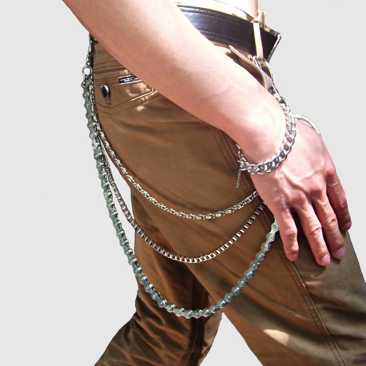 2016 Diy Best Selling Men Waist Accessories Punk Hip-hop Pants Chain Fashion Casual Street Dancing Retro Three Layers Metal Rock(China (Mainland))