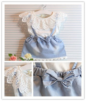 Kids cut girls and bowknot summer 2 piece T-shirt with jeans skirt teenager children outerwear kinds clothes