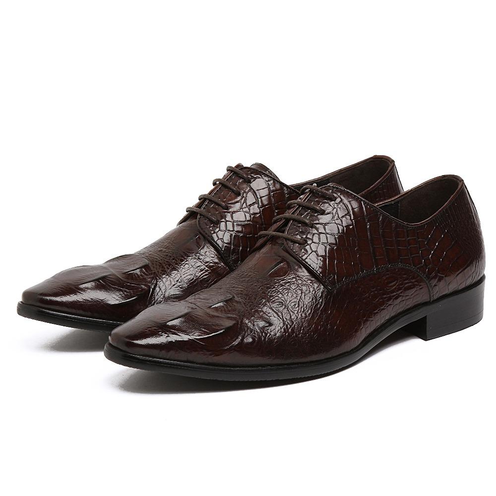 GRIMENTIN fashion dress mens shoes top genuine leather lace up brown black luxury crocodile elegant flats men shoes wedding z419(China (Mainland))