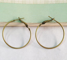 20pcs Antique Bronze French Earwire Hoop Earring Findings 30mm Dangle