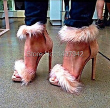 2015 Spring Luxury pink high heels Fox fur Ankle strap lady pumps 10cm Evening dress suede shoes Free shipping(China (Mainland))