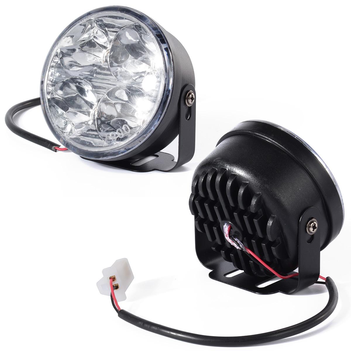 Car styling 2x Daytime Running 4 LED DRL Head Light white Lamp Car 12V Round Kit Fog led car MA135(China (Mainland))