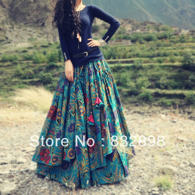 Top Sale New Fashion Long Flowing Thick Cotton Multicolor Print SkirtsОдежда и ак�е��уары<br><br><br>Aliexpress