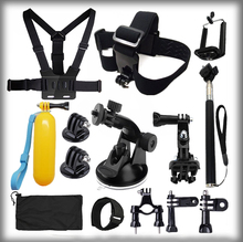 Gopro Hero Accessories Set Helmet Floating Selfie stick Monopod Chest Belt Head Mount Strap Gopro Hero 3 3+ 4 Sj4000 Xiaoyi Kit