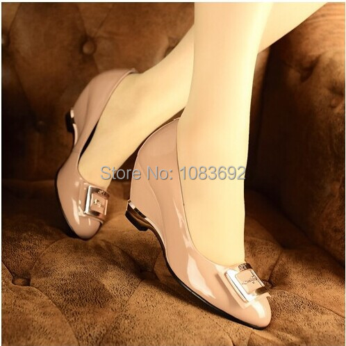 Free Shipping New Autumn Fashion Womens Patent Leather Wedges Single Shoes Round Toe Work Formal Shoes Pumps Plus Size 32~43<br><br>Aliexpress