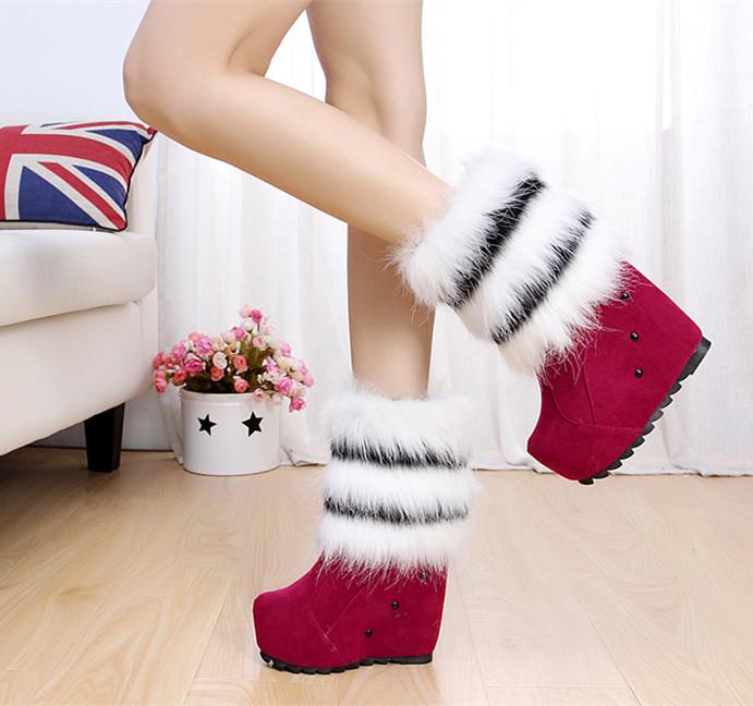 2014 autumn wedges snow boots fur one piece medium-leg boots platform high-heeled platform shoes fashion boots(China (Mainland))