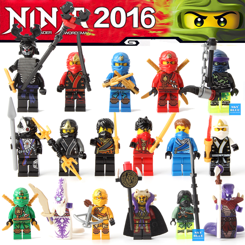 17pcs/Lot NINJA Minifigures Cole Jay Kai Lloyd Nya Skylor Zane Pythor Chen Building Blocks Figures Toys compatible with lego(China (Mainland))