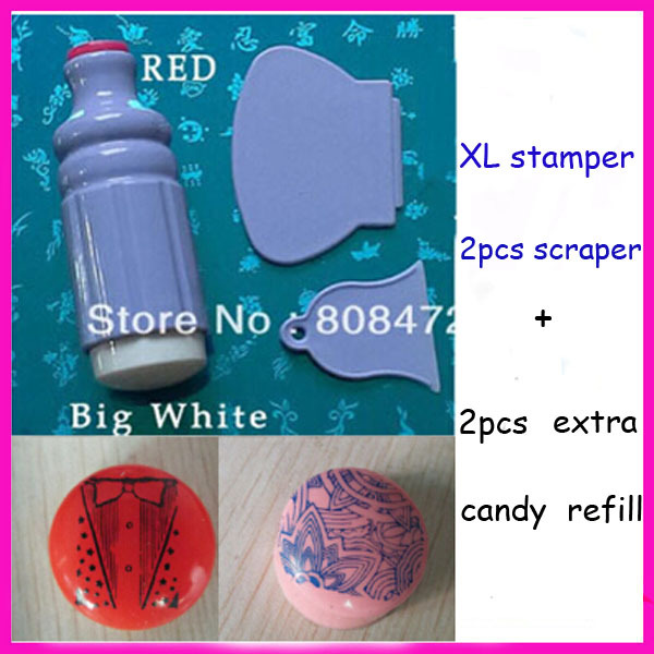 Free Shipping Marshmallow Stamper Jelly Soft Nail Stamp With Extra Refill XL stamper 2PCS Plastic scraper Big Soft Nail Stamp(China (Mainland))