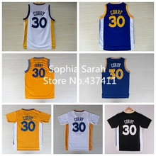 Stephen Curry Basketball Jersey , Golden State 30 Curry White Blue Yellow Black Rev 30 Retro Jersey, Curry Short sleeve Jersey