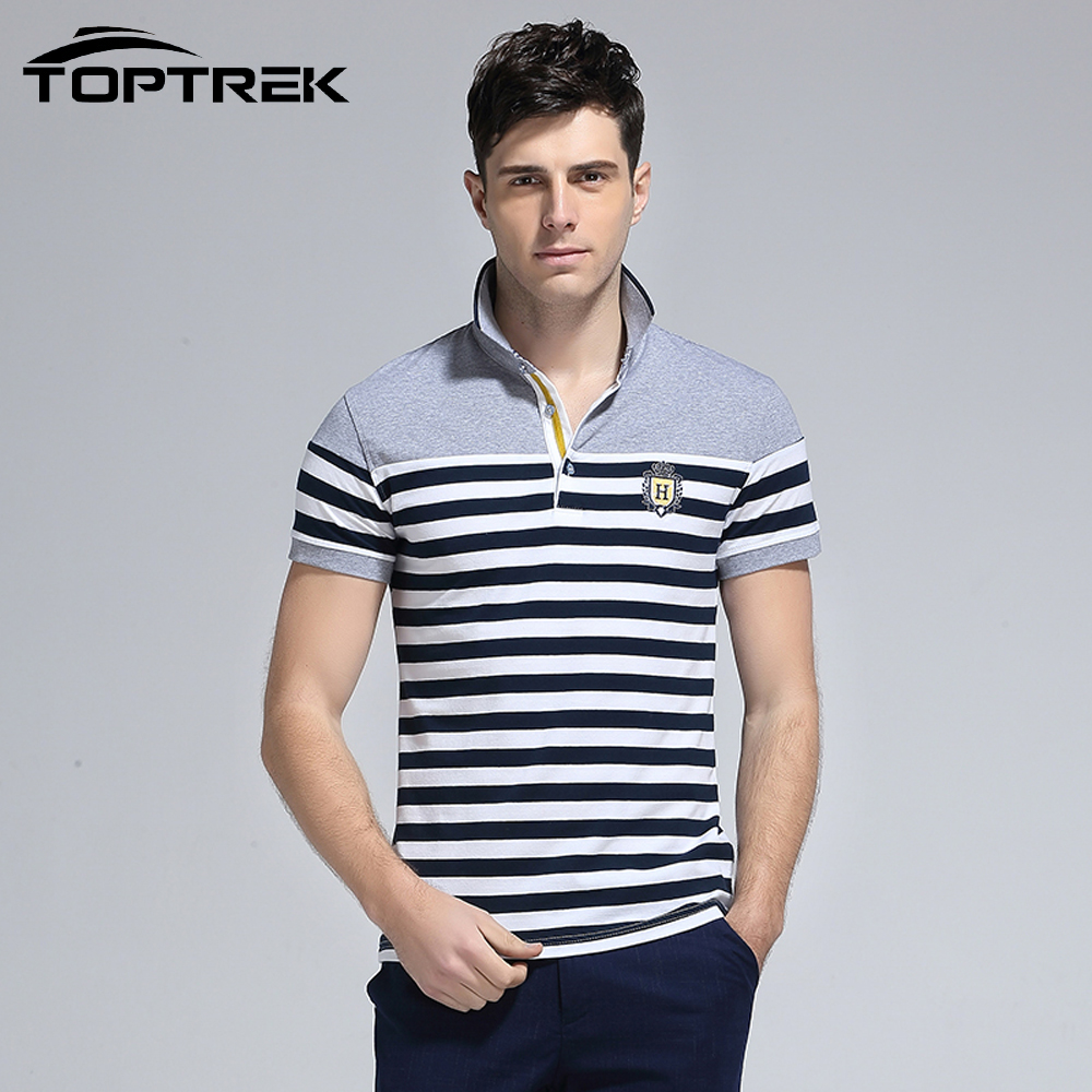 Toptrek Brand Clothing Men Striped Polo Shirt Short Sleeve ...