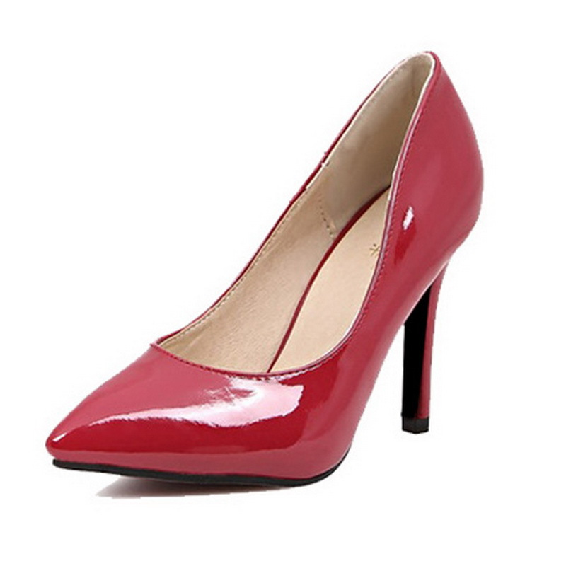 Women High Heel Shoes 2015 Pointed Toe Sexy High Heels Thin Heel Patent Pu Shoes Women High Heel Slip On Solid Women Pumps(China (Mainland))